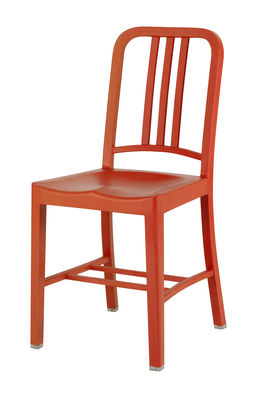 Furniture - Chairs - 111 Navy chair Chair - Recycled plastic by Emeco - Persimmon orange - Fibreglass