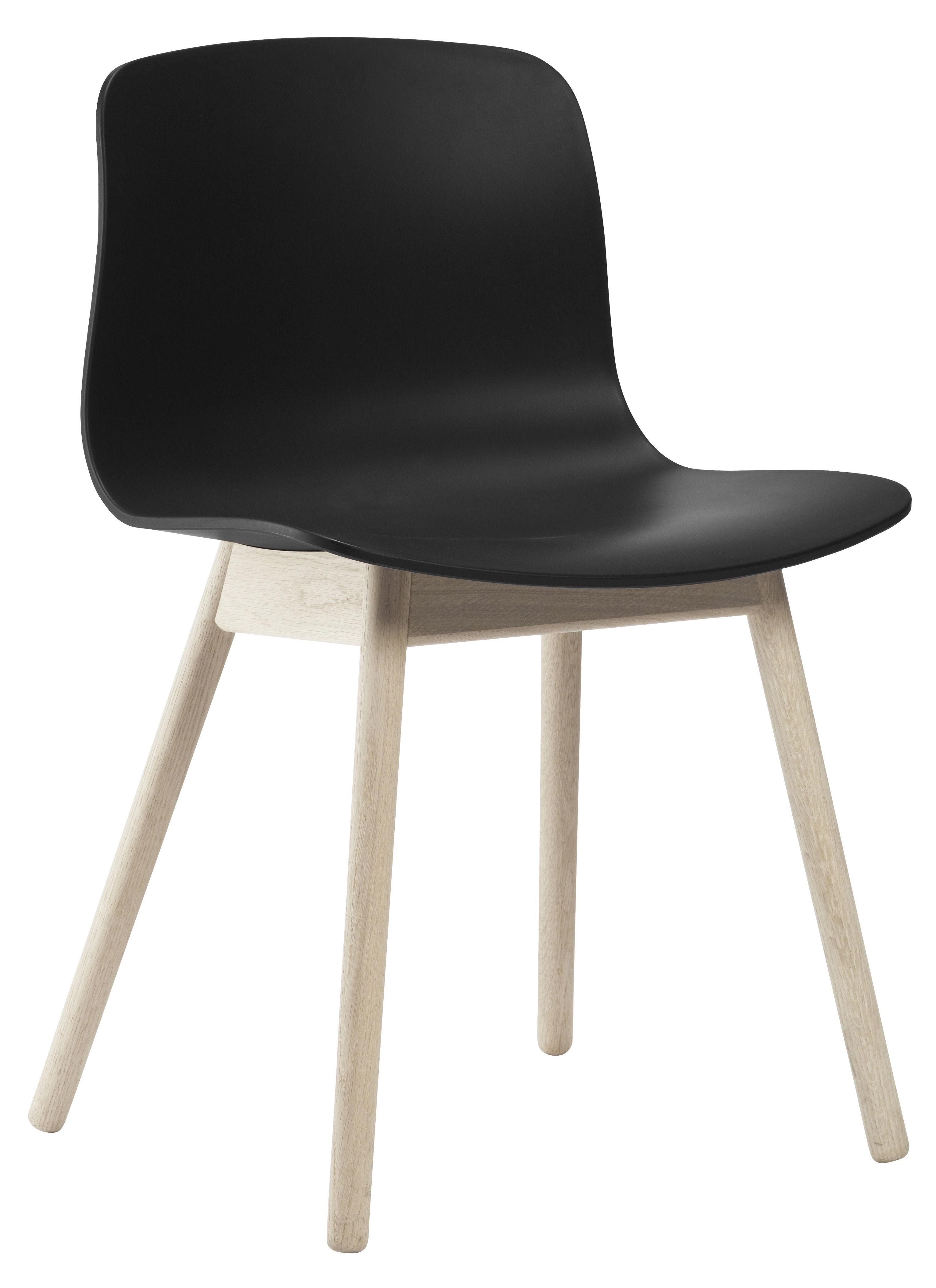 Chaise About A Chair AAC12 Plastique Pieds Bois Noir