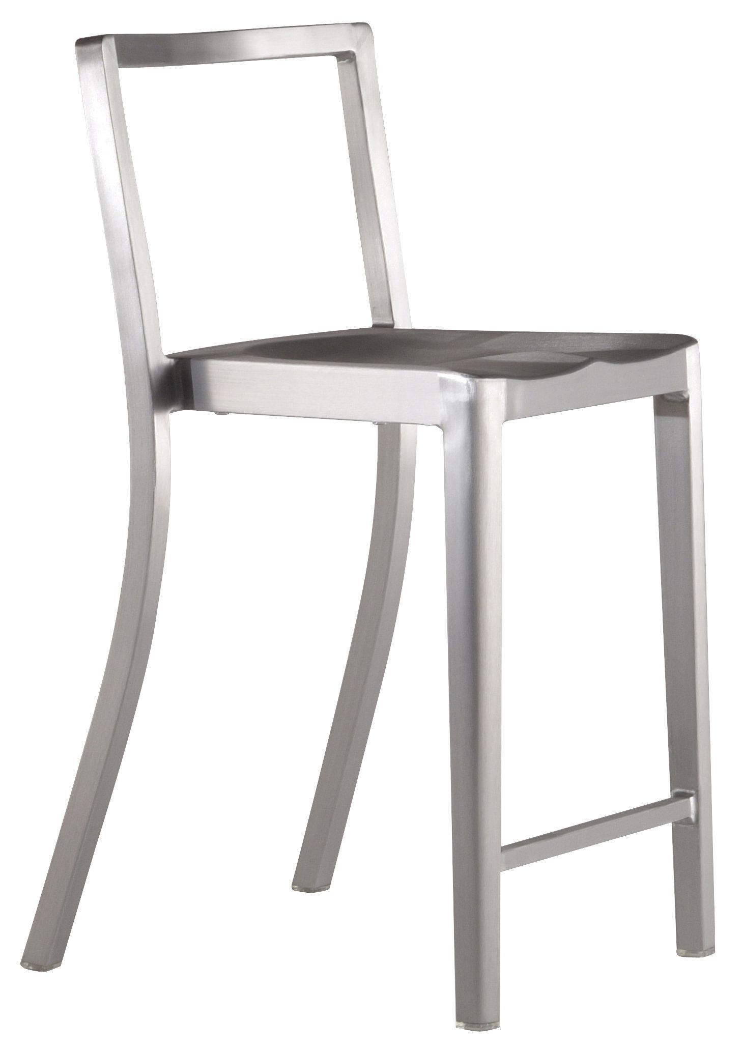 Mobilier - Tabourets de bar - Chaise de bar Icon Outdoor / H 61 cm - Aluminium brossé - Emeco - Aluminium brossé (outdoor) - Aluminium brossé