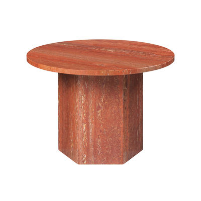 Furniture - Coffee Tables - Epic Coffee table - / Travertine - Ø 60 cm by Gubi - Burnt red - Travertine