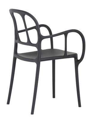 Mobilier - Chaises, fauteuils de salle à manger - Fauteuil empilable Milà / Plastique - Magis - Noir - Polypropylène