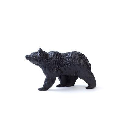 Image of Figurina Orso Small - / Ceramica modellata 3D - L 18 cm di Moustache - Grigio/Nero - Ceramica