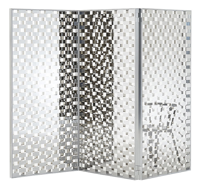 Furniture - Room Dividers & Screens - Fragment Folding screen - / Glass with chequered pattern - L 87 x H 189 cm by Glas Italia - Mirrored & transparent chequerboard - Extra-clear tempered glass, Polished aluminium