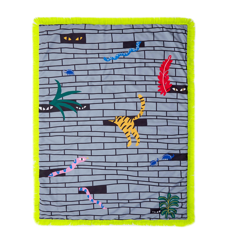Dekoration - Wohntextilien - Tapame Mucho Large - Urban Jungle Gepolstertes Plaid / 180 x 140 cm - Sancal - Urban Jungle / grau - Fibre synthétique, Kunstpelz, Polyesterfaser