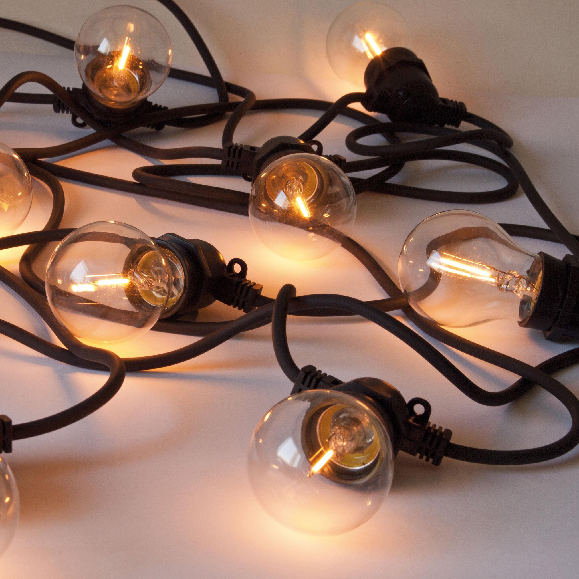 Luminaire - Luminaires d'extérieur - Guirlande lumineuse extérieur Bella Vista CLEAR LED / Ampoules transparentes à filaments / L 14 mètres - Seletti - Guirlande / Câble noir & ampoules transparentes - Silicone, Verre