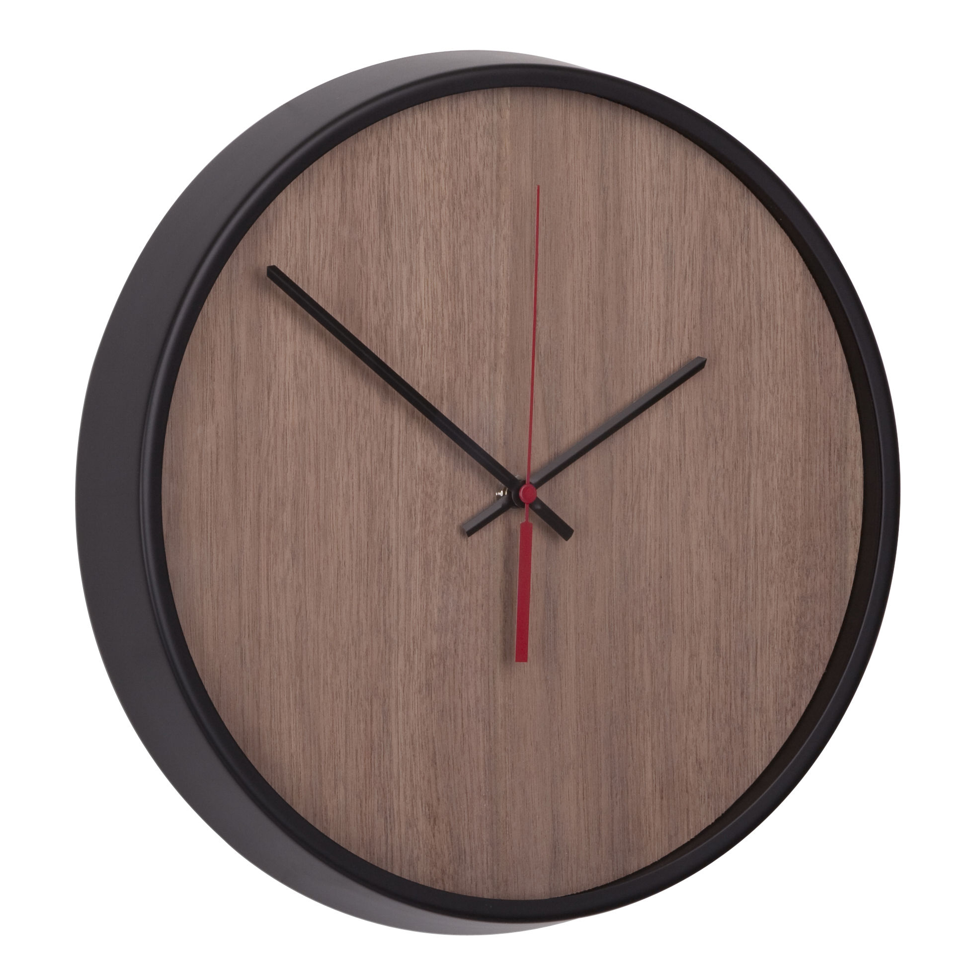 Déco - Horloges  - Horloge murale Madera / Ø 32 cm - Umbra - Noir / Noyer naturel - Aluminium, Hêtre, Verre