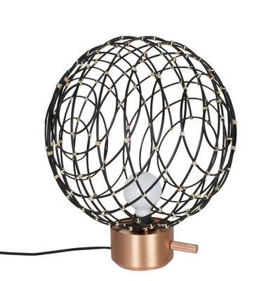 Lampe de table Sphere Medium / Bambou - Ø 40 cm - Forestier noir,cuivre mat en rotin & fibres