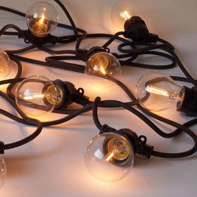 Leuchten - Außenleuchten - Bella Vista CLEAR  Lichtgirlande im Freien / für außen - Glühbirnen-Look - Seletti - Schwarzes Kabel - Glas, Silikon