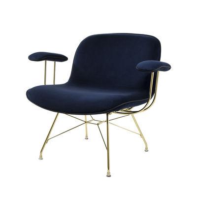 Möbel - Lounge Sessel - Troy Lounge Sessel / Velours & Stahldraht-Füße - Magis - Velours blau / goldfarben - Expandierter Polyurethanschaum, Stahl, Velours