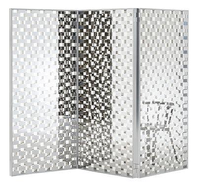 Mobilier - Paravents, séparations - Paravent Fragment / Verre motif damier - L 261 x H 189 cm - Glas Italia - Damier miroir & transparent - Aluminium poli, Verre extra-clair trempé