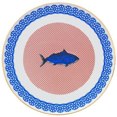 Tavola - Piatti  - Piatto di portata Bel Paese - Pesce - / Ø 32 cm di Bitossi Home - Pesce / Blu - Porcellana