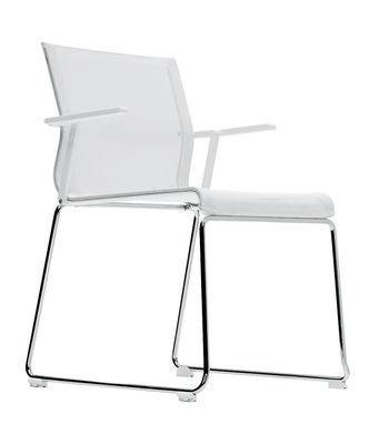 Arredamento - Sedie  - Poltrona impilabile Stick Chair - sedia a base fissa con braccioli - Seduta a rete di ICF - Rete in colore bianco - Base cromata - Struttura e braccioli in colore bianco - Acciaio, Alluminio, Termoplastica, Tessuto