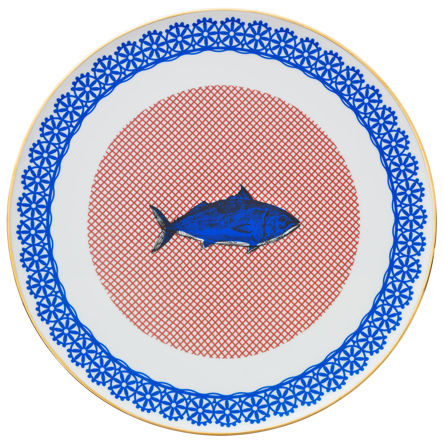 Tableware - Plates - Bel Paese - Pesce Presentation plate - / Ø 32 cm by Bitossi Home - Fish / Blue - China