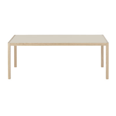 Furniture - Dining Tables - Workshop Rectangular table - / Linoleum - 200 x 92 cm by Muuto - Grey linoleum / Oak legs - Linoleum, Solid oak