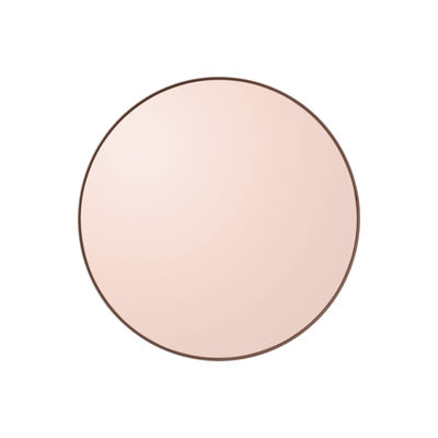 Interni - Specchi - Specchio murale Circum XS - / Ø 50 cm di AYTM - Rosa fumé / Cornice rosa - MDF tinto, Vetro