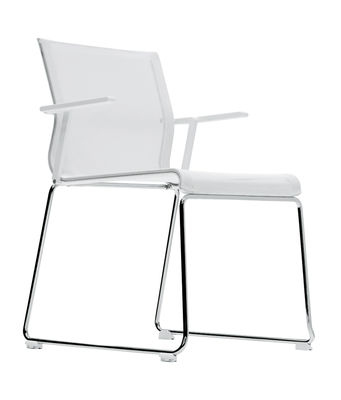 Furniture - Chairs - Stick Chair Stackable armchair - Fabric seat by ICF - White mesh / Polished aluminium base / White lacquered structure - Aluminium, Fabric, Steel, Thermoplastic