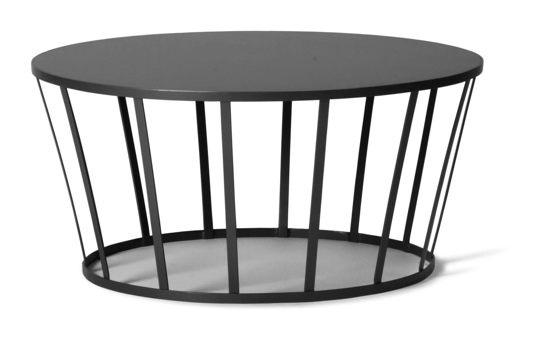 Mobilier - Tables basses - Table basse Hollo / Ø 70 x H 33 cm - Petite Friture - Anthracite - Acier inoxydable peint epoxy