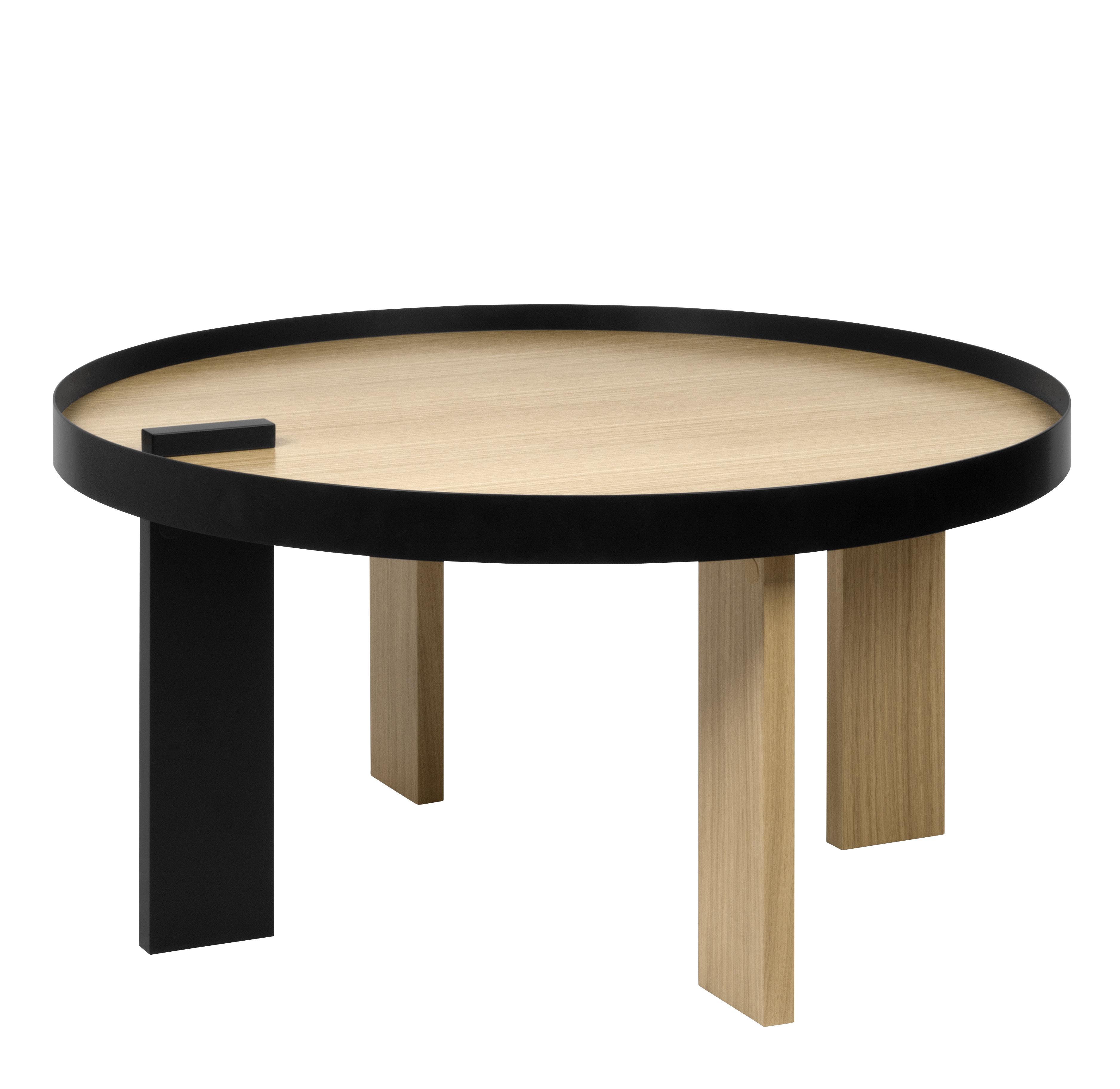 Mobilier - Tables basses - Table basse Tokyo / Bois & Métal - Ø 80 x H 42 cm - POP UP HOME - Chêne & Noir - Métal laqué, Panneaux alvéolaires