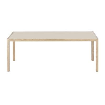 Mobilier - Tables - Table rectangulaire Workshop / Linoleum - 200 x 92 cm - Muuto - Linoleum gris / Pieds chêne - Chêne massif, Linoléum
