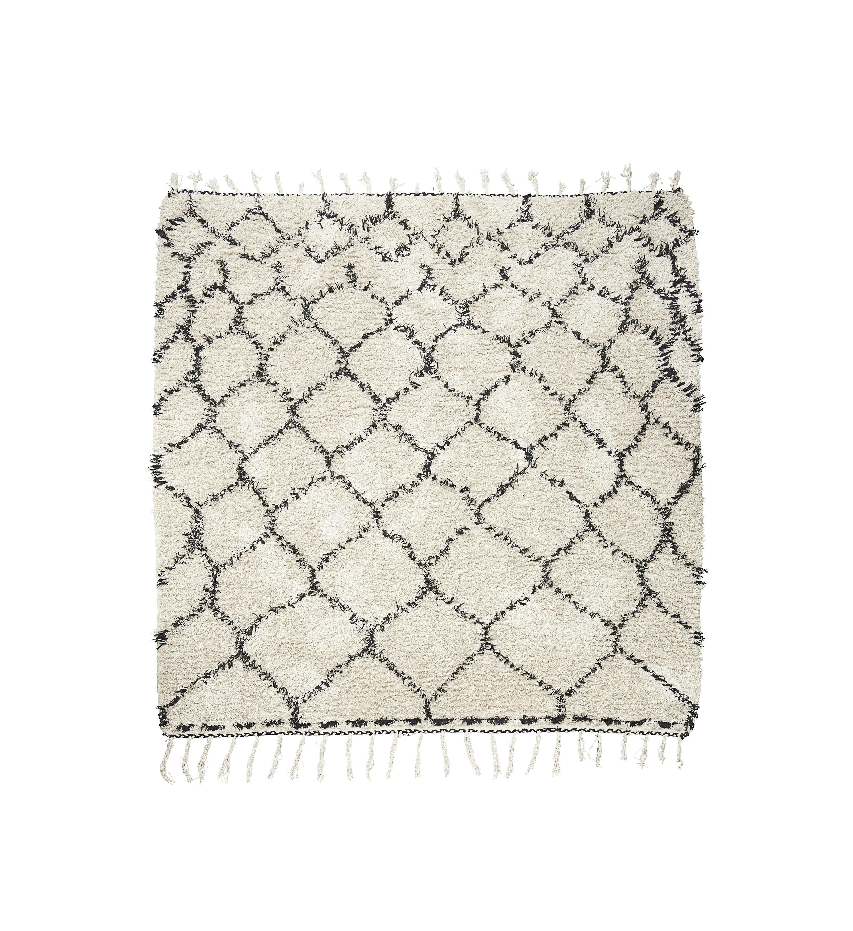 Déco - Tapis - Tapis Zena / 180 x 180 cm - House Doctor - Noir & blanc - Coton