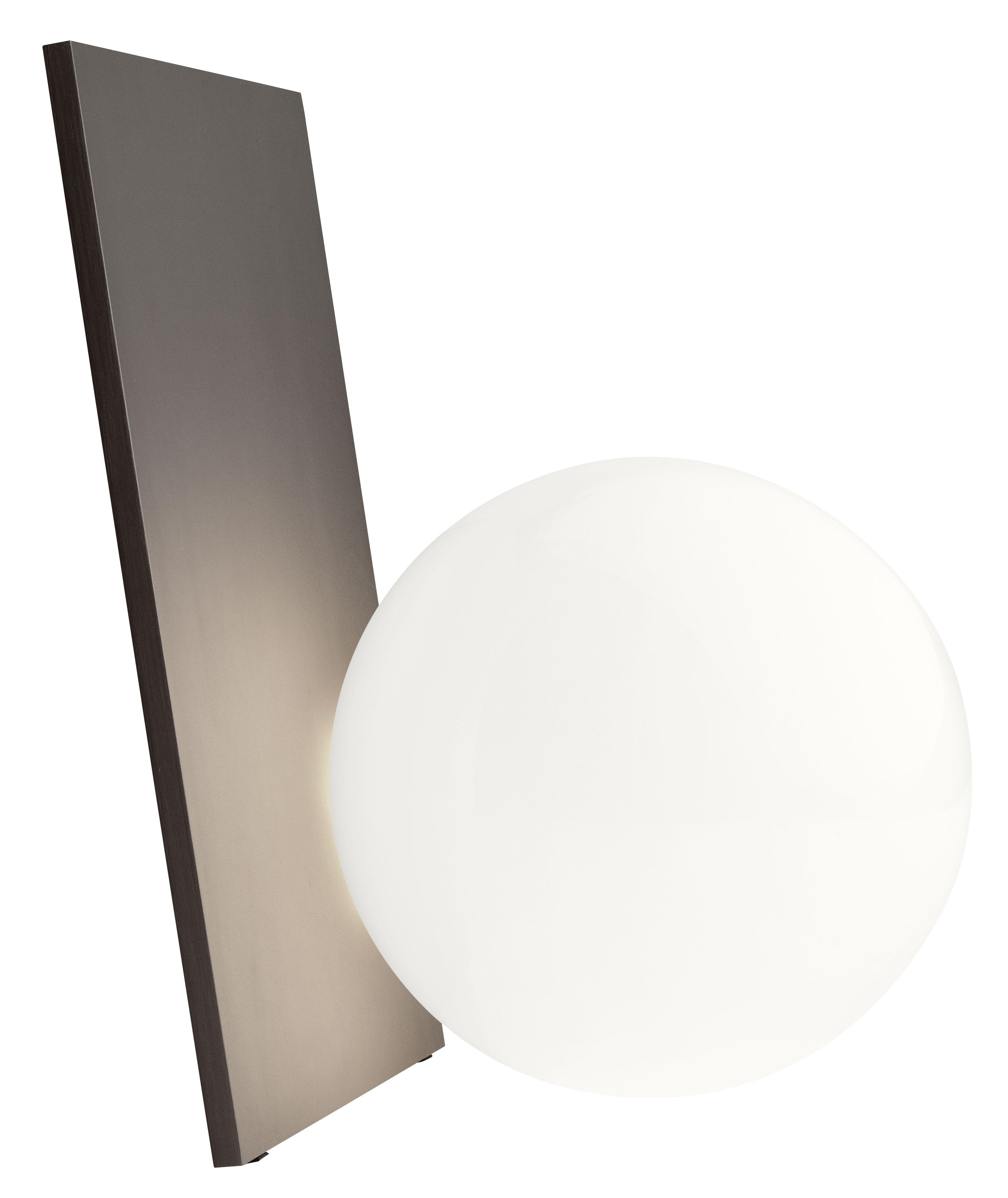 Leuchten - Tischleuchten - Extra T Tischleuchte LED / mundgeblasenes Glas & Metall - H 35 cm - Flos - Bronzefarben / Kugel weiß - Aluminium, Glas
