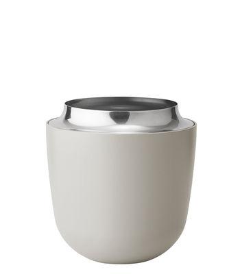 Dekoration - Vasen - Concave Vase Medium / H 16,5 cm - Metall - Stelton - H 16,5 cm / sandfarben - Aluminium, pulverbeschichtet, polierter rostfreier Stahl
