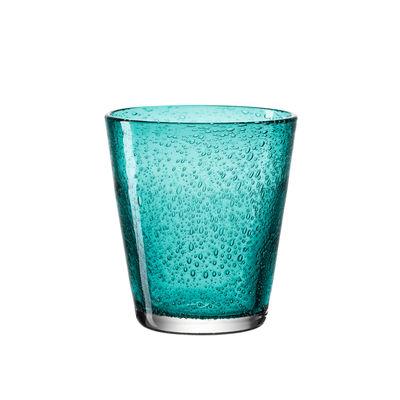 Arts de la table - Verres  - Verre Burano / Bullé - 330 ml - Leonardo - Turquoise - Verre bullé soufflé bouche