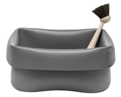 Kitchenware - Cool Kitchen Gadgets - Washing-up Bowl Bowl - Bowl & brush by Normann Copenhagen - Grey - Beechwood, Rubber