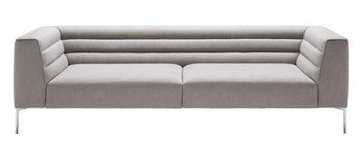 Mobilier - Canapés - Canapé droit Botero / 3 places - L 238 cm - Zanotta - Gris / Piètement alu poli - Acier, Aluminium, Tissu