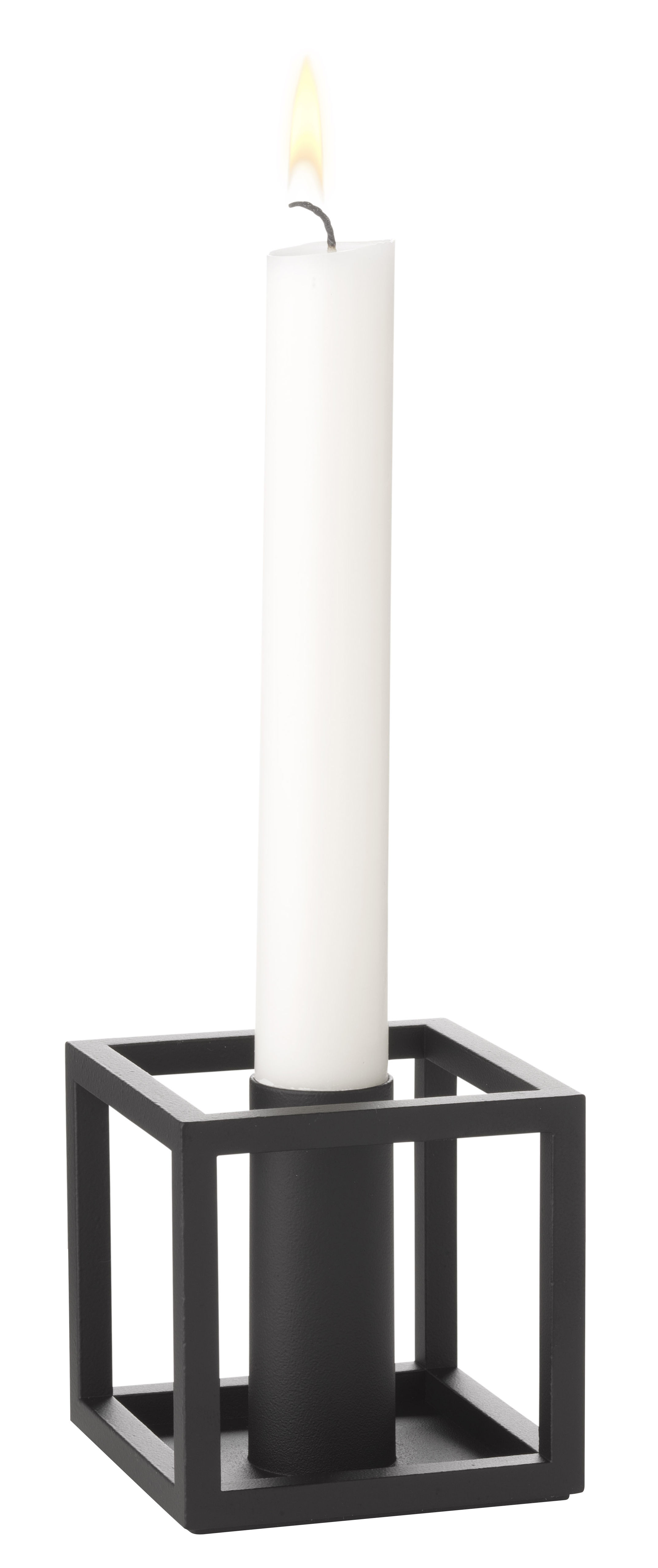 Decoration - Candles & Candle Holders - Kubus 1 Candle stick - Reissue 1962 by by Lassen - Black - Lacquered steel