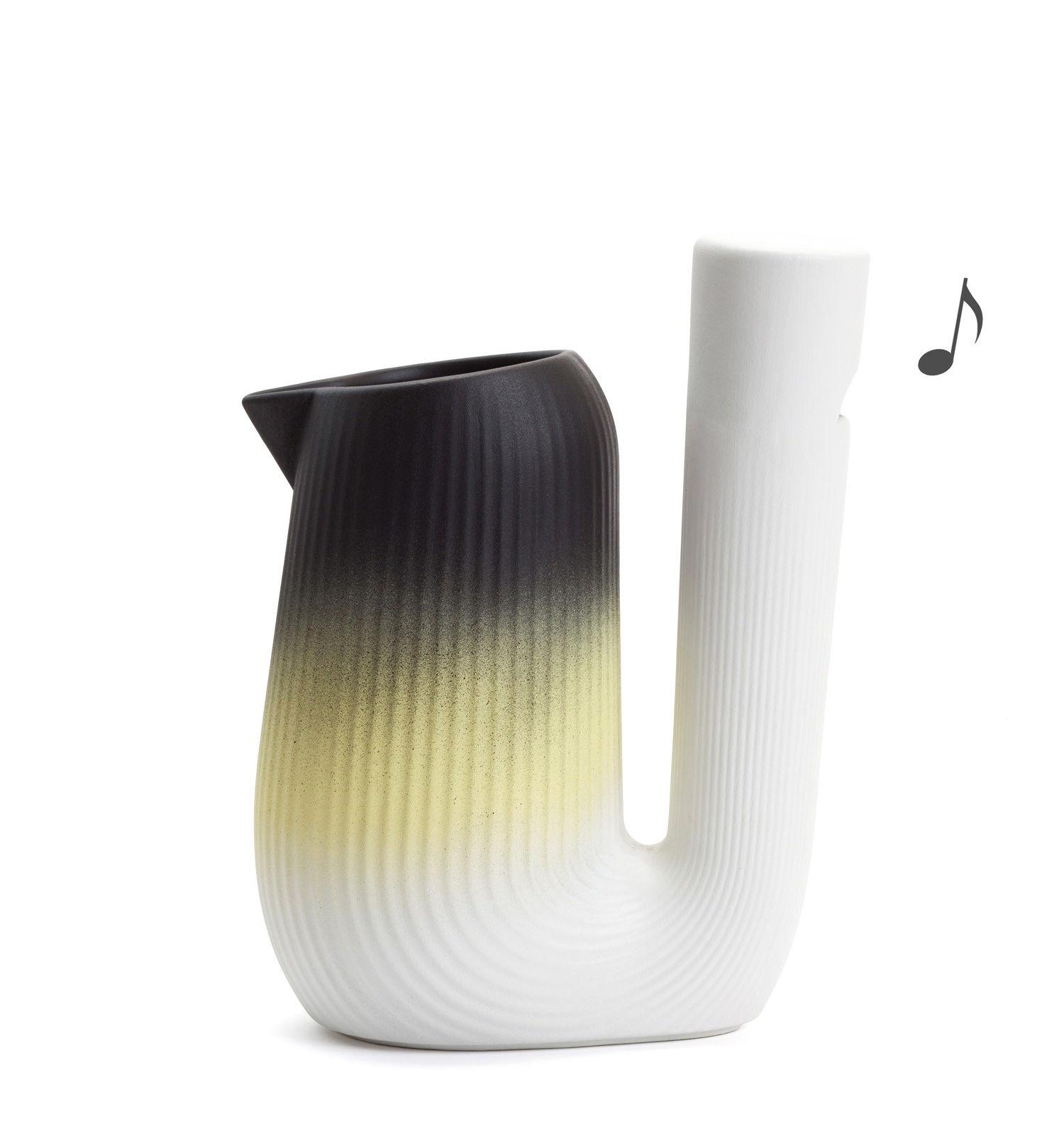Arts de la table - Carafes et décanteurs - Carafe Pan / Sifflante - 1L - Moustache - Jaune & noir - Céramique émaillée