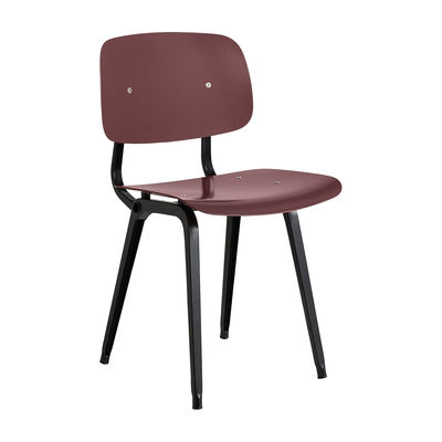 Furniture - Chairs - Revolt Chair - / 1950s reissue by Hay - Plum / Black legs - Powder coated steel, Recycled ABS