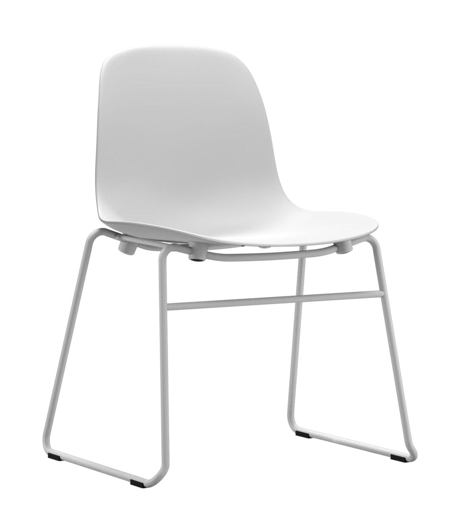 Mobilier - Chaises, fauteuils de salle à manger - Chaise empilable Form / Pied métal - Normann Copenhagen - Blanc - Acier laqué, Polypropylène