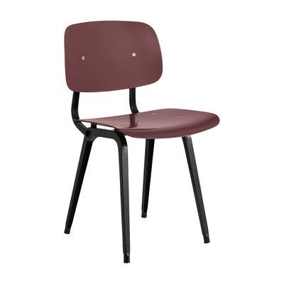 Mobilier - Chaises, fauteuils de salle à manger - Chaise Revolt / Réédition 1950' - Hay - Prune / Pieds noirs - ABS recyclé, Acier thermolaqué