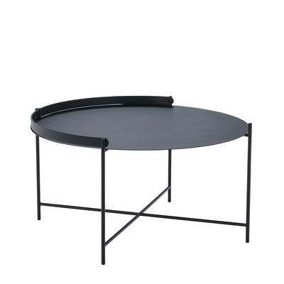 Furniture - Coffee Tables - Edge Coffee table - / Folding handle - Ø 76 x H 40 cm by Houe - Black - Thermolacquered metal