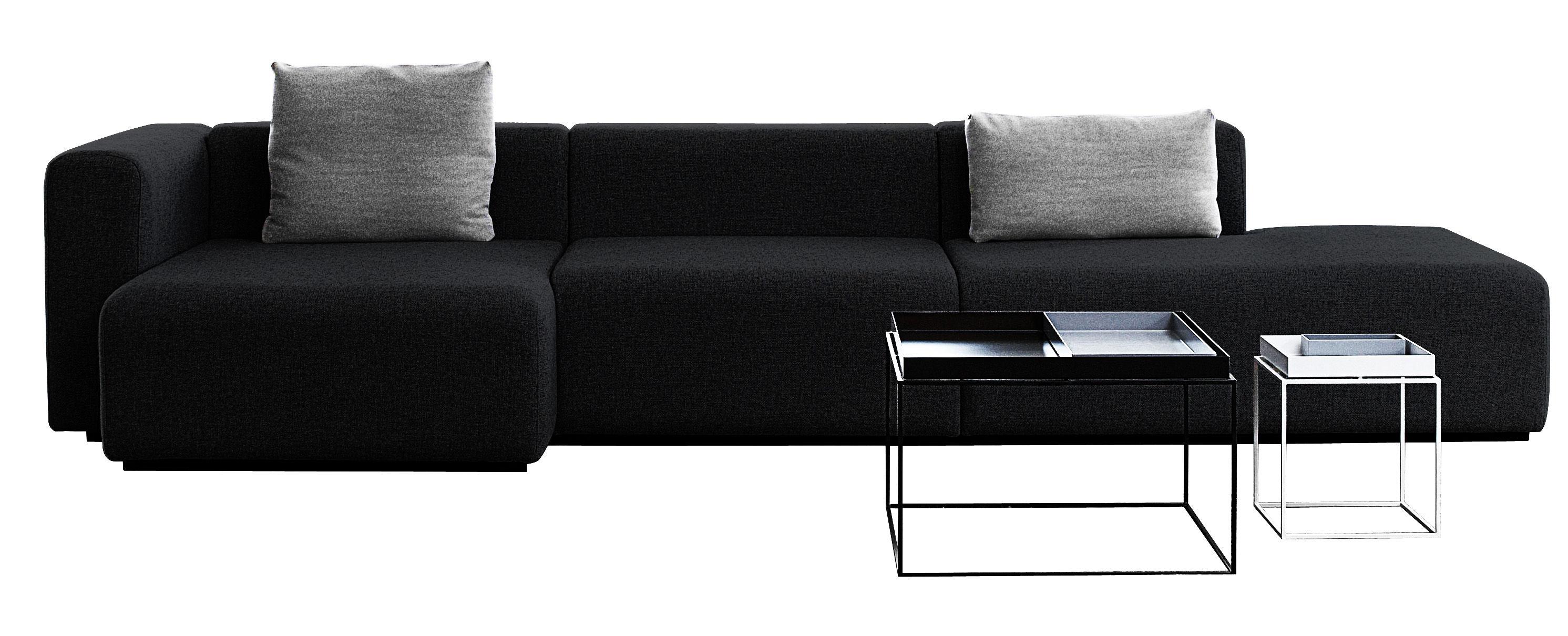 Arredamento - Divani moderni - Divano d'angolo Mags - L 342 cm - Bracciolo destro di Hay - Grigio scuro - Bracciolo destro - Tessuto