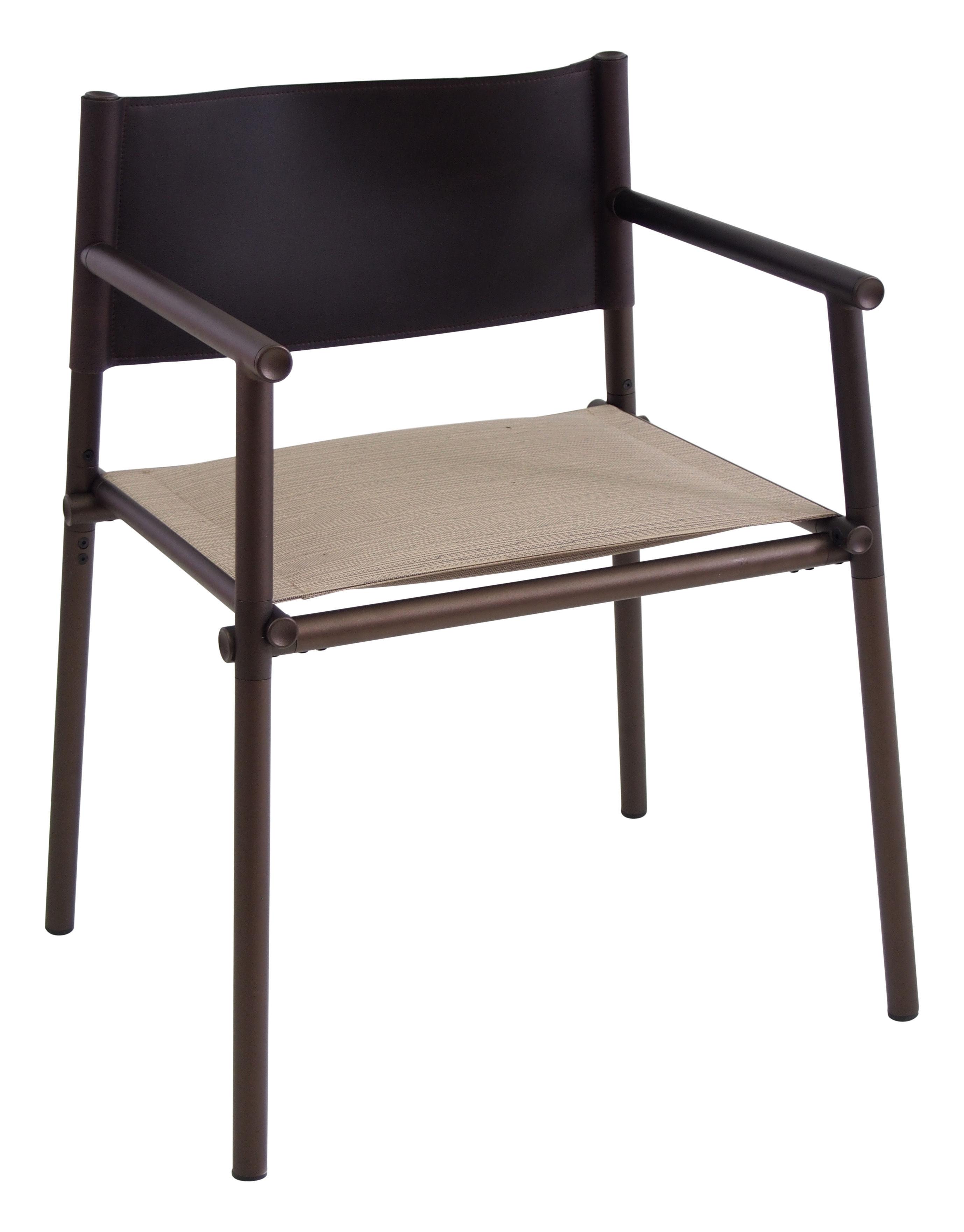 Mobilier - Chaises, fauteuils de salle à manger - Fauteuil Terramare / Similicuir & tissu - Emu - Chocolat & sable / Structure marron d'Inde - Aluminium verni, Similicuir, Tissu Emu Tex