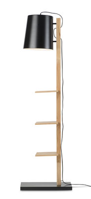 Furniture - Bookcases & Bookshelves - Cambridge Floor lamp - / with 3 shelves - H 168 cm by It's about Romi - Black / Natural wood - Iron, Wood