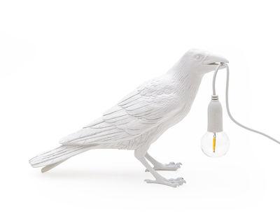 Lampe de table Bird Waiting / Corbeau immobile - Seletti blanc en matière plastique