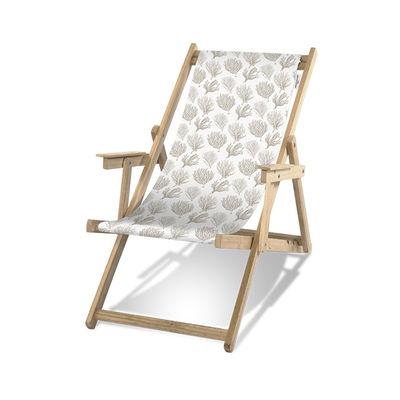 Outdoor - Sonnenliegen, Liegestühle und Hängematten - Bali Liegestuhl / Mit Armlehnen - PÔDEVACHE - Koralle / Taupe - , Polyester-Gewebe