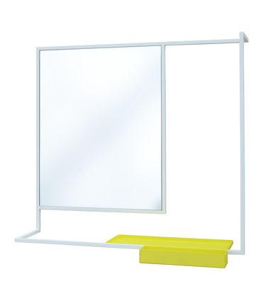 Déco - Miroirs - Miroir mural Romi / Porte-serviettes & tablette - 78 x 60 cm - Presse citron - Blanc / Etagère jaune - Acier laqué, Verre