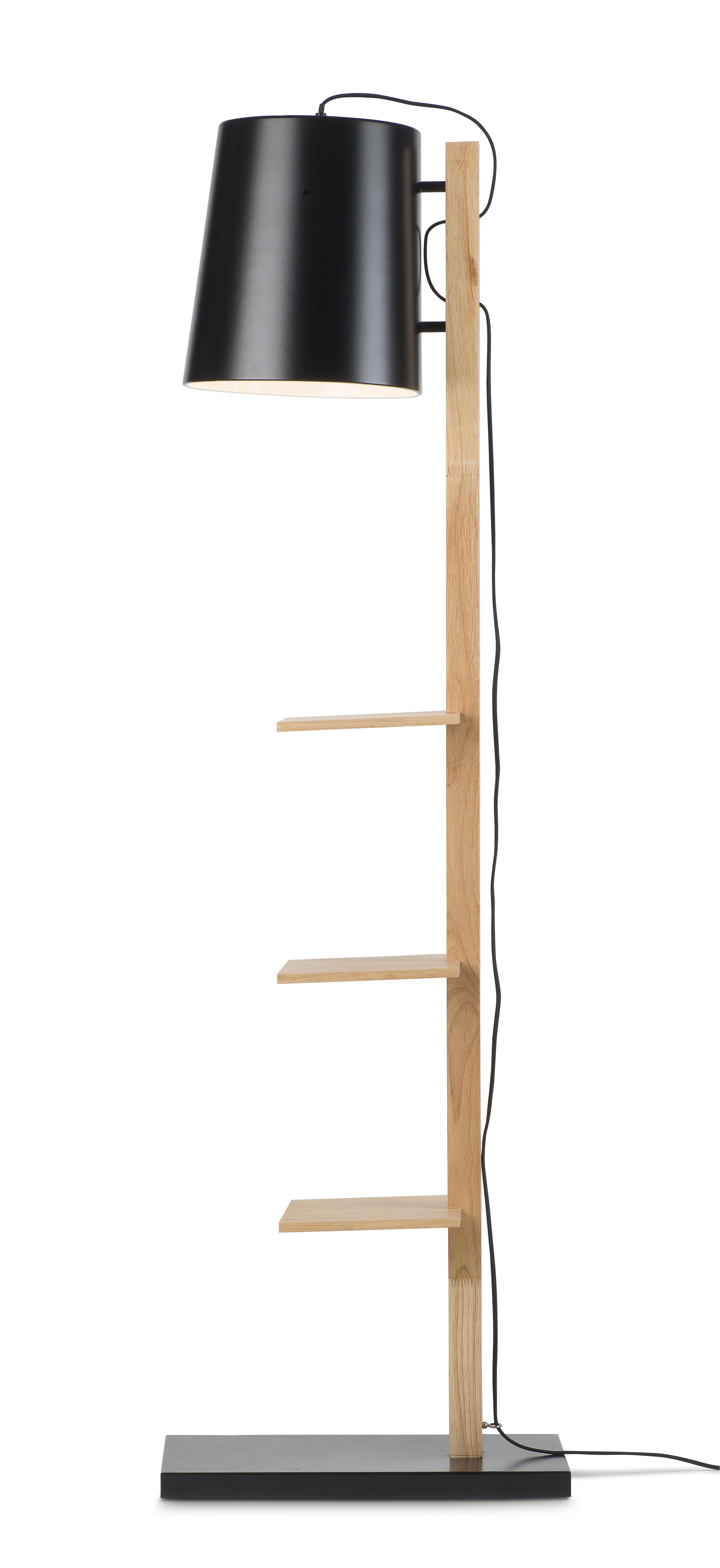 Arredamento - Scaffali e librerie - Mobile contenitore Cambridge - / con 3 mensole - H 168 cm di It's about Romi - Nero / Legno naturale - Ferro, Legno