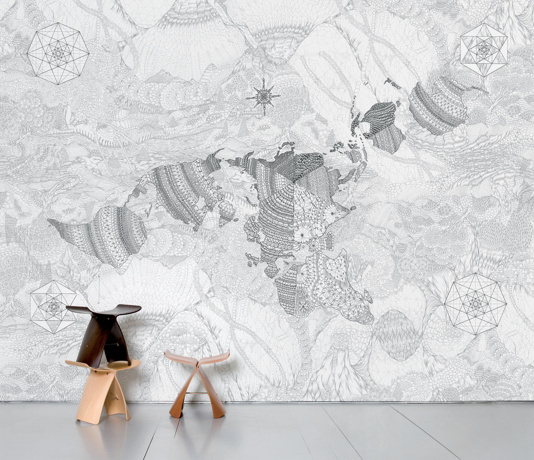 Dekoration - Stickers und Tapeten - Wholearth Panorama-Tapete 8 Bahnen - Domestic - Grau - imprägniertes Papier