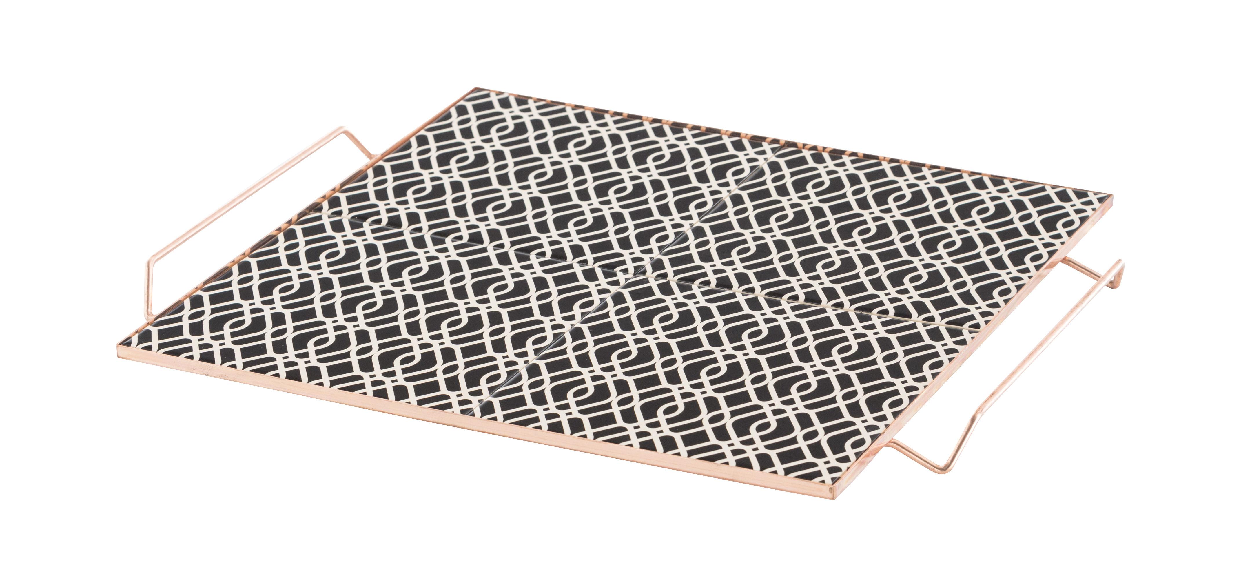 Tavola - Vassoi  - Vassoio Mix&Match / 40 x 40 cm - Ceramica & rame - Gan - 40 x 40 cm / Nero - Aluminium plaqué cuivre, Ceramica