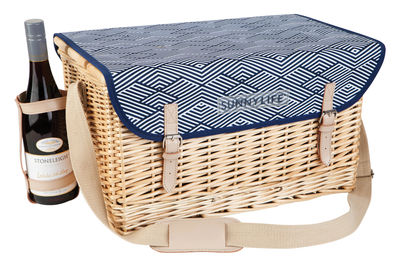 Outdoor - Ornaments & Accessories - Montauk Picnic basket by Sunnylife - Blue - Birch, Leather, Polyester fabric, Wicker