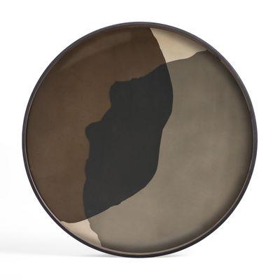 Plateau Pinot Combined Dots / Ø 92 cm - Bois & verre peint main - Ethnicraft marron en verre