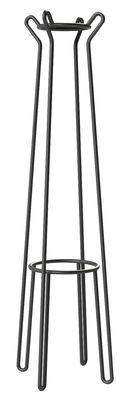 Mobilier - Portemanteaux, patères & portants - Portemanteau sur pied Huggy / H 178 cm - Aluminium - Maiori - Carbone - Aluminium laqué époxy