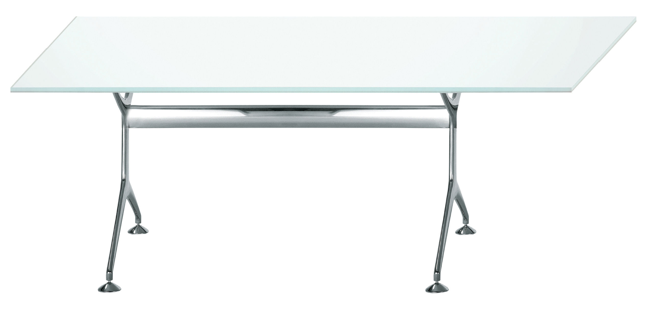 Furniture - Office Furniture - Frametable Rectangular table - 160 x 80 cm by Alias - Polished aluminium structure / white glass top - Glass, Polished aluminium