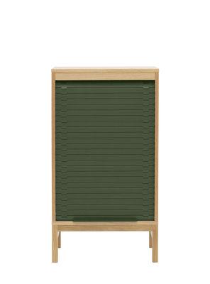 Mobilier - Meubles de rangement - Semainier Jalousi Bas / H 101 cm - Bois & rideau plastique - Normann Copenhagen - Vert foncé / Bois - Chêne massif, MDF plaqué chêne, Plastique