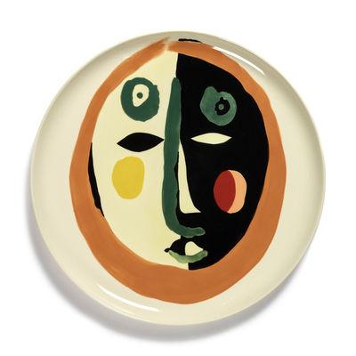 Tischkultur - Teller - Feast Servierplatte / Ø 35 x H 2 cm - Serax - Gesicht 1 / Mehrfarbig - emaillierter Sandstein